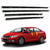4pcs Car Weatherstrip Window Moulding Trim Seal Belt For Honda Civic 2012 2015