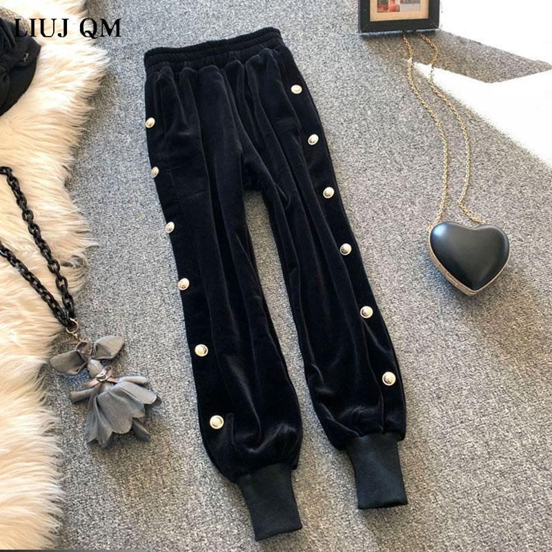 2021 doradas de primavera Casual de terciopelo pantalones de las mujeres sueltas de cintura alta Pantalón de terciopelo grueso Ide-pierna pantalones de las mujeres