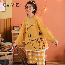 Женские пижамные комплекты caiyier из мягкого хлопка с круглым