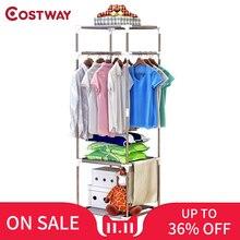 COSTWAY estante para colgar abrigos colgador para suelo, almacenamiento, armario, estantes de secado de ropa, contenedor kledingrek perchero de pie