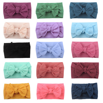 Hot Solid Bow Baby Headbands For Girls Handmade Elastic Cotton Knot Soft Baby Headband Hairband Newborn Infant Hair Accessories solid velvet bow baby headbands for girls handmade nylon elastic soft knot baby turban headband newborn infant hair accessories