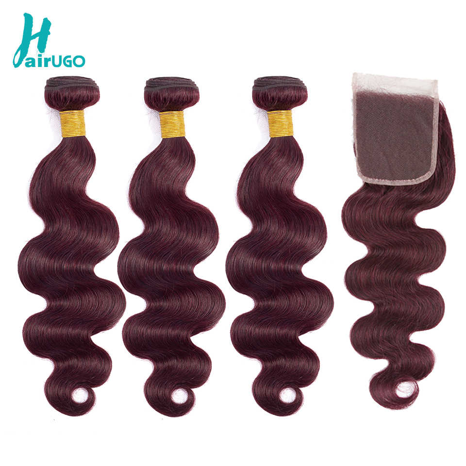 Peruvian Hair Bundles With Closure 99J Ombre Body Wave Bundles With Closure Remy Human Hair Bundles With Closure HairUGo Hair