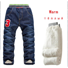 2019 High Quality Thicken Winter Warm Cashmere Jeans Children Pants Boys Pants Jean Children Kids Vans Jeans Baby Boys Clothing cheap campure Novelty Fits true to size take your normal size 2019818-16 Elastic Waist Unisex Solid Loose Light
