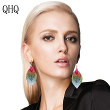 QHQ drop earrings fashion earring jewelry ear rings hanging dangle fine female accessories bride leaf face bijoux gifts boho(China)