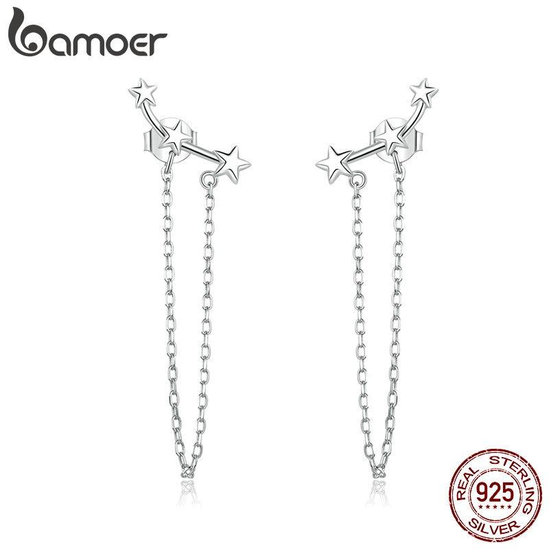 Bamoer Silver 925 Jewelry Long Chain Tassel Dangle Earrings For Women Wedding Party 925 Sterling Silver Fine Jewelry BSE361