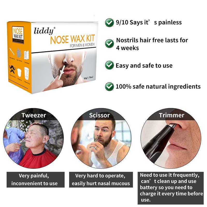 50g taşınabilir erkek balmumu seti burun profesyonel epilasyon balmumu emniyet burun saç düzeltici ağrısız boncuk güzellik araçları TSLM2