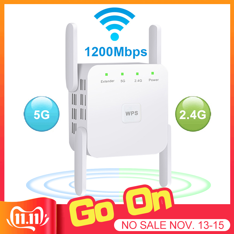 5 Ghz WiFi Repeater Wireless Wifi Extender 1200Mbps Wi-Fi Amplifier 802.11N Long Range Wi Fi Signal Booster 2.4G Access Point