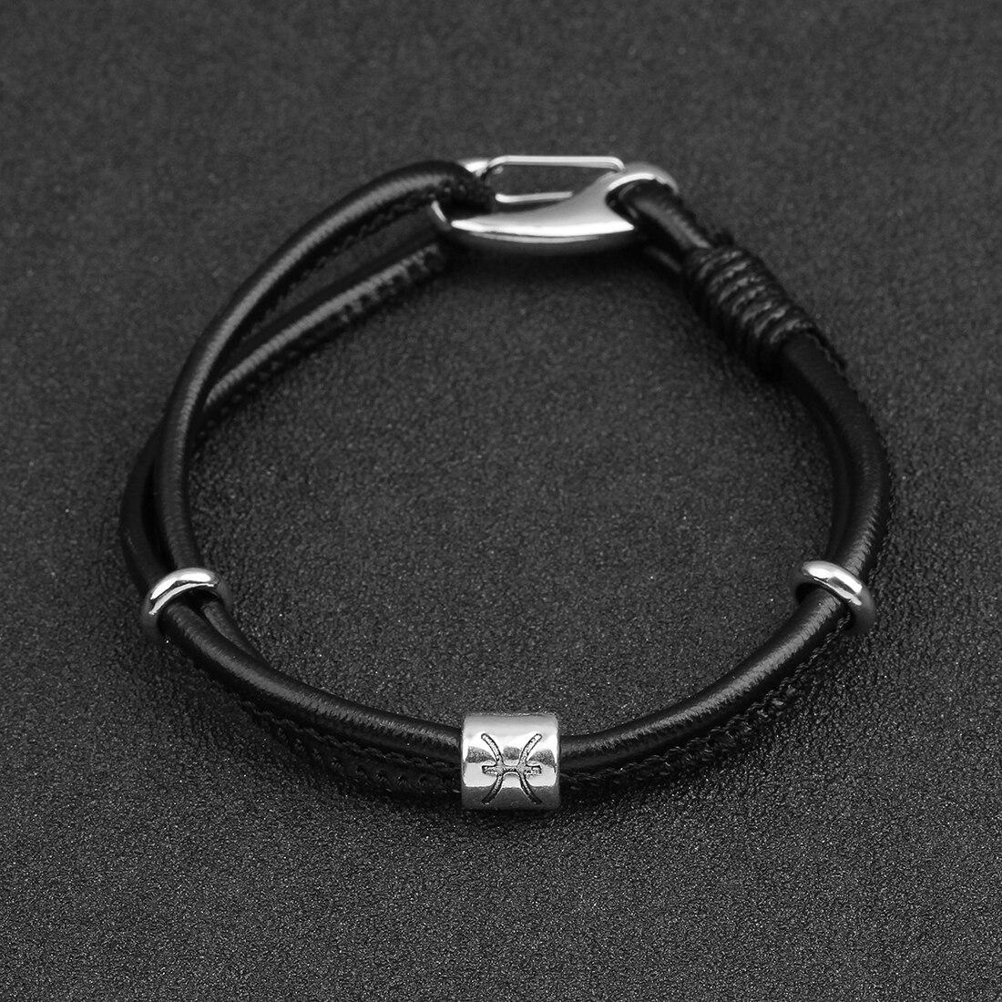 Punk Genuine Constellation Stainless Steel Buckle Leather Bracelet for Women Men Aquarius/Virgo/Scorpio/Libra 12 Zodiac Bracelet