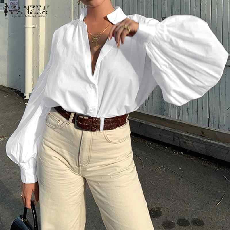 Zanzea 패션 여성 옷깃 넥 랜턴 슬리브 블라우스 2020 봄 캐주얼 ol 작업 blusas 여성 튜닉 탑 chemise 화이트 셔츠 7