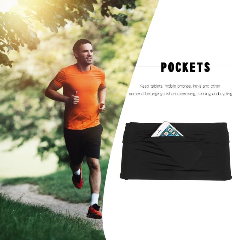 Three Sizes Black Waist Running Bags Elastic Tablet Phone Case Bag High-capacity Pocket For Outdoor Riding Sports