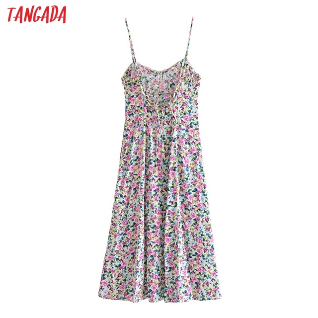 Tangada 2021 Fashion Women Flowers Print Back Lace Up Long Dress Sleeveless Backless Female Casual Dress 3H447 5