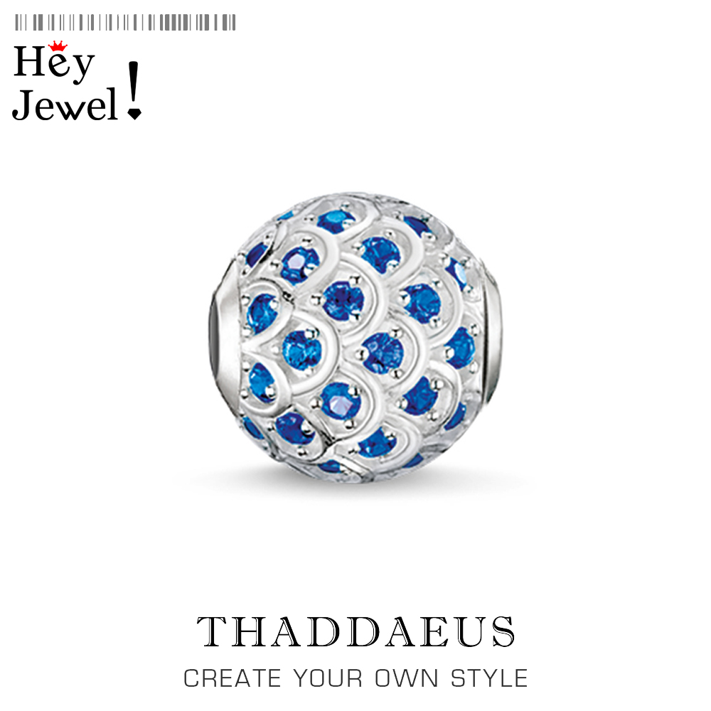 Beads Blue Fish, Silver & Rhinestone Beads Fits Bracelet Thomas Jewelry Thanksgiving Gift For Women & Men