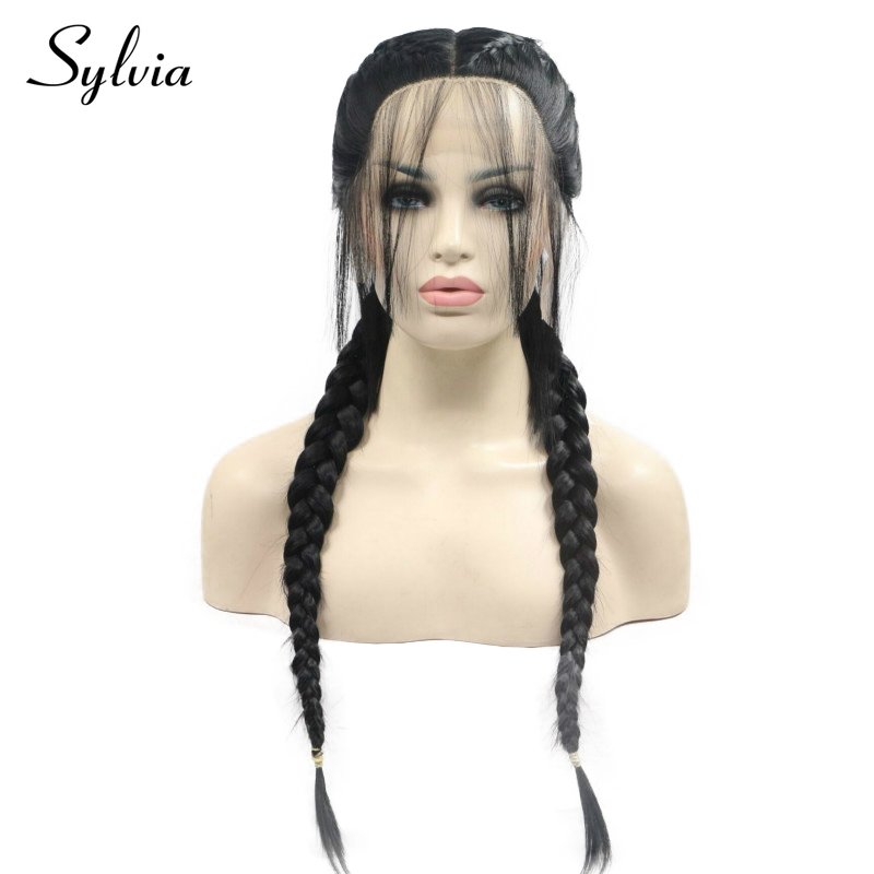 Sylvia 1b# Black Double Braids Synthetic Lace Front Wigs with Baby Hair Middle Part Long Heat Resistant Fiber Hair For Women