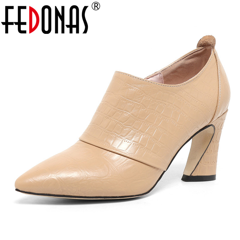 FEDONAS Side Zipper Genuine Leather Women Quality Pumps Strange High Heels Elegant Office Shoes Woman Spring Autumn Shoes Sandal