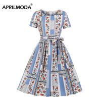 Elegant Vintage Women Dress O Neck Floral Print Patchwork Swing Casual Dress Short Sleeve 50s 60s Party Dress With Pocket blue