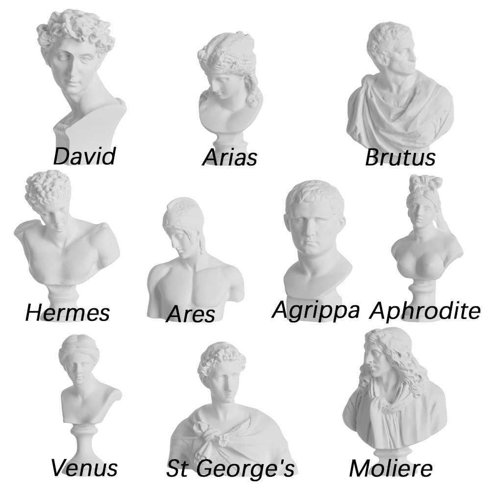 1PC נורדי סגנון מיניאטורי גבס דיוקנאות טיח חזה פסל יווני מיתולוגיה צלמית פסל מפורסם שולחן העבודה קישוט