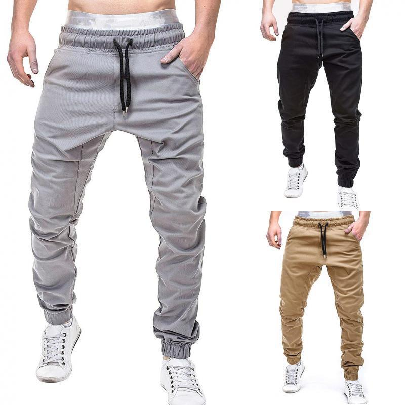 2018 Autumn New Style Men Solid Color With Drawstring Casual Trousers Men Pants 3410