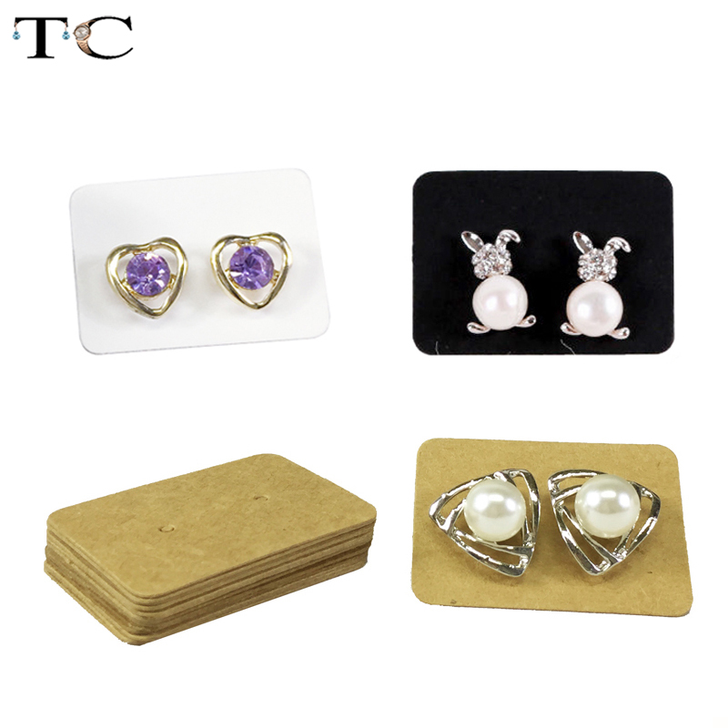 100pcs Blank Earrings Ear Studs Display Cards Cardboard Jewelry Earring Package Hang Tag Card For Ear Studs Paper