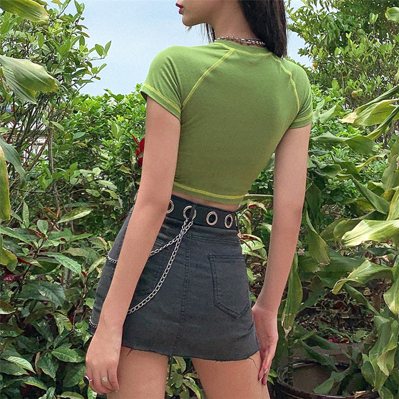 2020 E-girl butterfly graphic and letter printing stitch green crop top Y2K summer Grunge style O-neck short sleeve T-shirt sexy 2