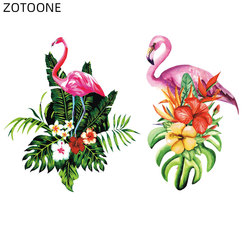 ZOTOONE Flamingo Patches Iron on Transfer for Clothing Patch for Kids Diy Flower Stickers Heat Transfer Clothes Appliques E