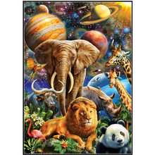 5D DIY Diamond Embroidered Animal Story Cross Stitch Sewing Mosaic Full Circle Painting Home Decoration