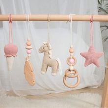 3Pcs/Set Nordic Cartoon Baby Wooden Rabbit Ear Toy Pendant Gym Fitness Rack Ornament Toddler Infant Room Decorations