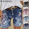 WEPBEL прямые платья на каждый день в винтажном стиле Джинсовые укороченные брюки джинсовые шорты для женщин с летним принтом короткие джинсы ...