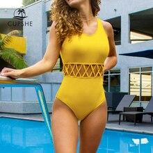 Cupshe amarelo recorte sólido de uma peça maiô feminino simples cruz sexy bodysuits banho 2020 nova praia fatos de banho monokinis