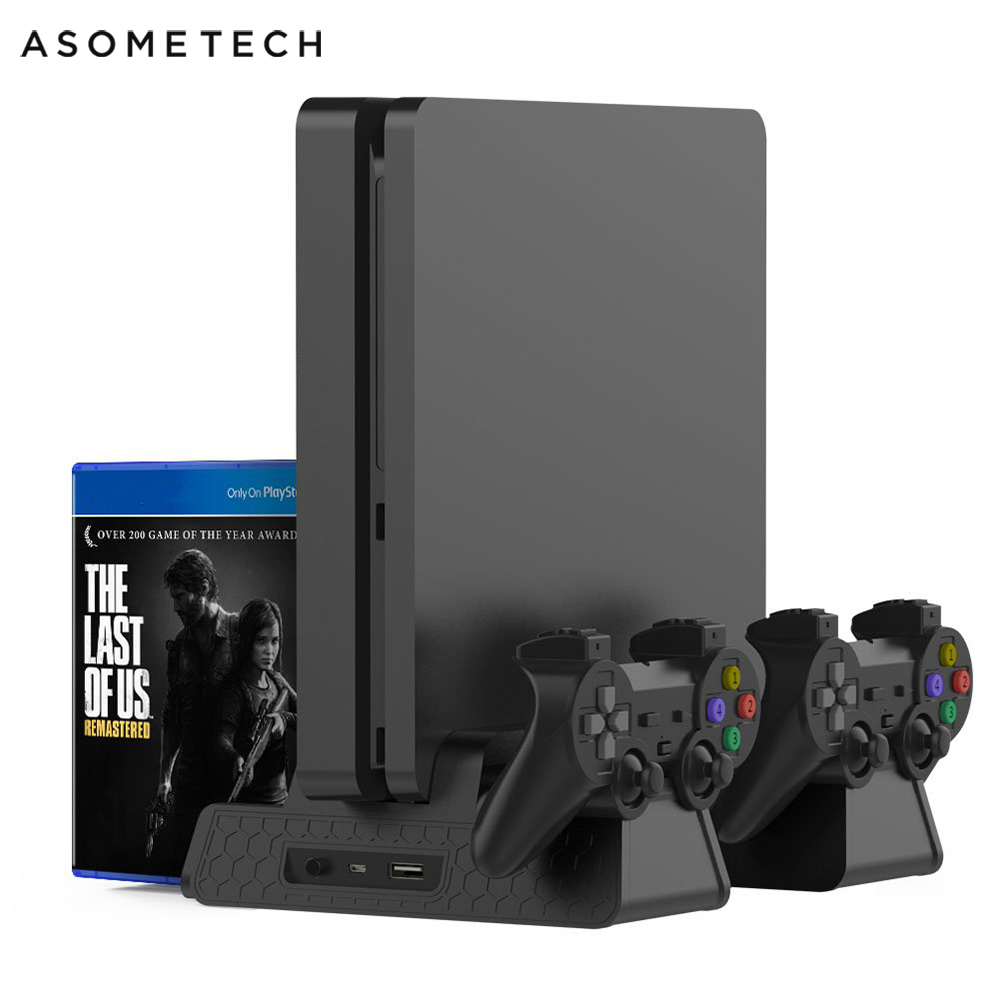 PS4 PS4 Slim PS4 PRO Vertical Stand With Cooling Fan Cooler Dual Controller Charger Charging Station For SONY Playstation 4 Pro