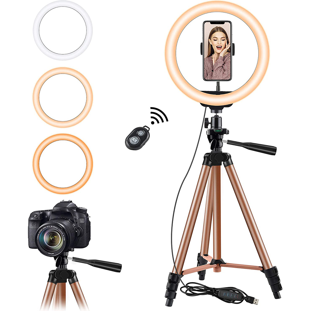 Photography Lighting Tripod-Holder Remote-Lamp Selfie-Ring Youtube Video Led 26cm Bluetooth