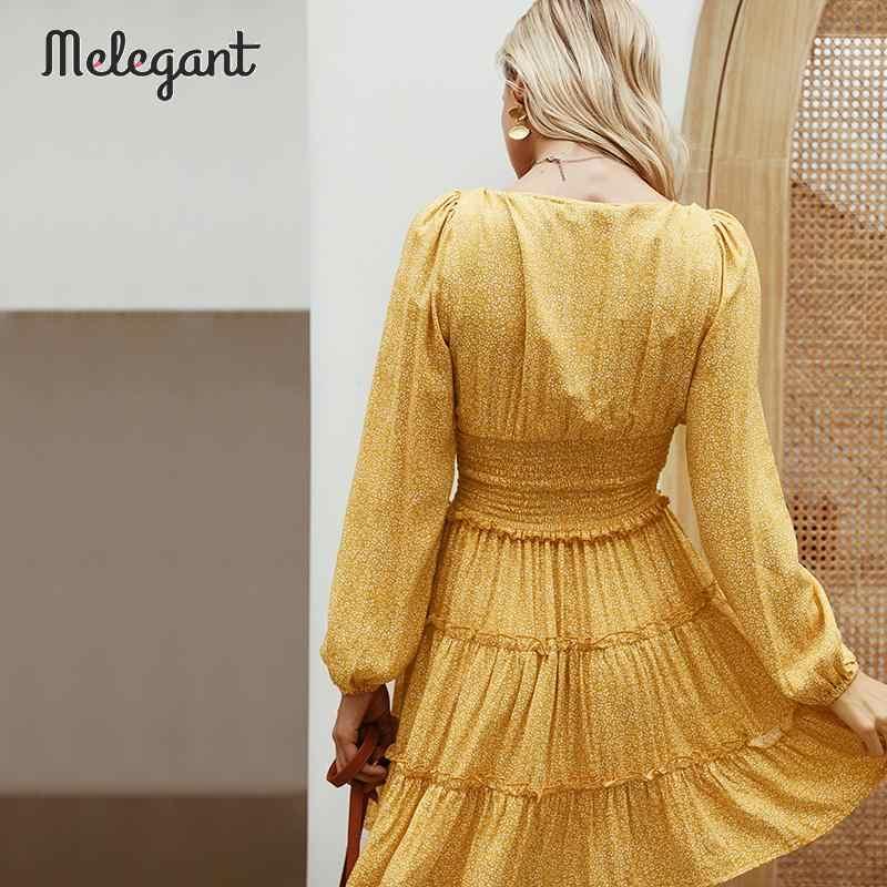 Melegant Ruffle Pesta Vintage Wanita Gaun Lengan Panjang Wanita Musim Gugur Musim Dingin 2019 Dress Bahasa Perancis Elegan Gaun Vestidos