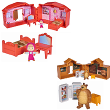 Russian Masha masa and bear Mini house series children furniture toy set Figures PVC doll Toys children's simulation doll gift