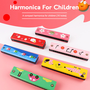 Cute Wooden Harmonica Toys Musical Instruments 16 Holes Double-Row Blow Beginner Music Educational Toy Woodwind Mouth For Kids