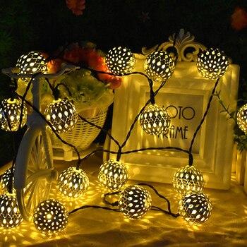 10/20 LED Moroccan Ball Solar String Lights Fairy light battery powered Waterproof Lantern Light for Home Garden Party Decor