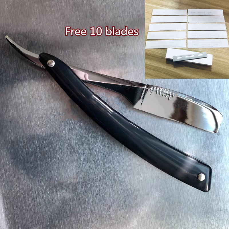 Men Shaving Straight Razor Natural Beech Wood/ABS Handle Carbon Steel Blade Manual Barber Shaver  Free 10pc Feather Blades G0420