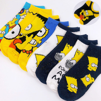 Women cotton cartoon cute fashion funny socks simpson boat novelty invisible happy hot christmas gifts for women