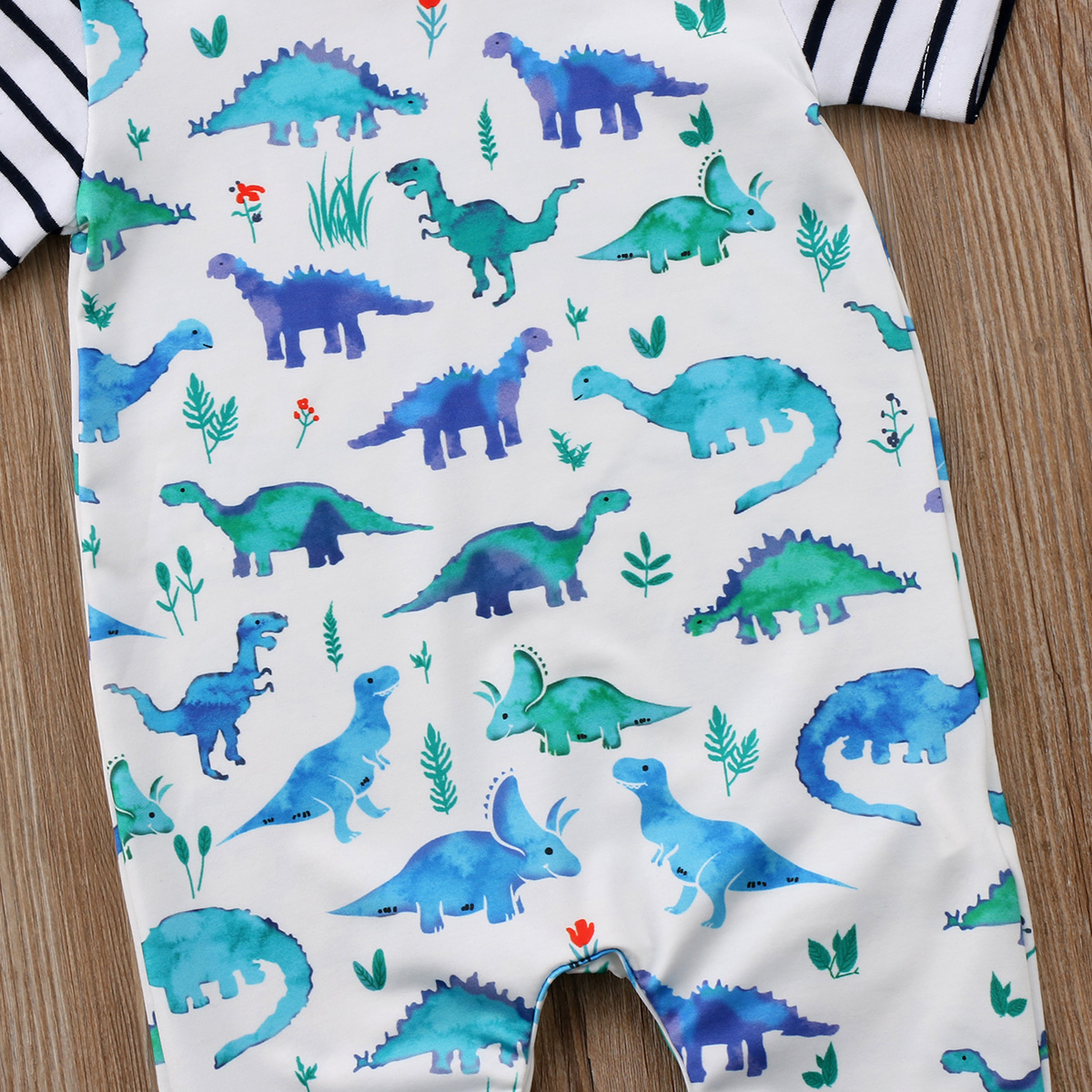 Newborn Baby Boys Shark Short Sleeve Cotton Jumpsuit Romper