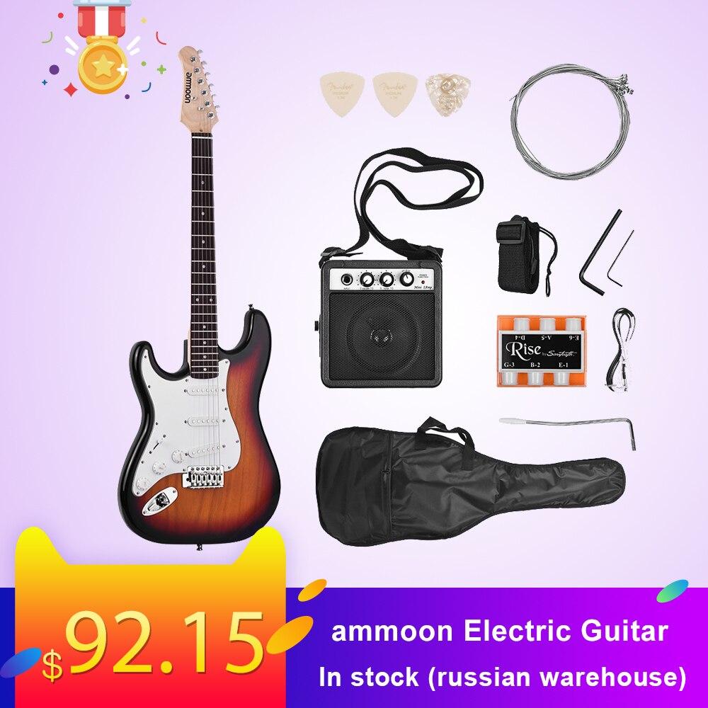 Ammoon guitare électrique 21 frettes 6 cordes Paulownia corps manche érable bois massif avec haut-parleur Pitch Pipe guitare sac sangle droite