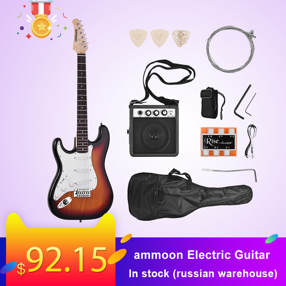 ammoon Electric Guitar 21 Frets 6 String Paulownia Body Maple Neck Solid Wood with Speaker Pitch Pipe Guitar Bag Strap RightHand