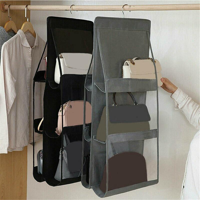 6 Pockets Handbag Hanging Organizer Dust-proof 3 Layers Folding Shelf Bag Wardrobe Closet Storage Bag for Purse Clutch Sundry