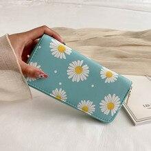 Cartera de margaritas pequeñas para mujer, cartera larga con cremallera, a la moda, para teléfono móvil, 2020