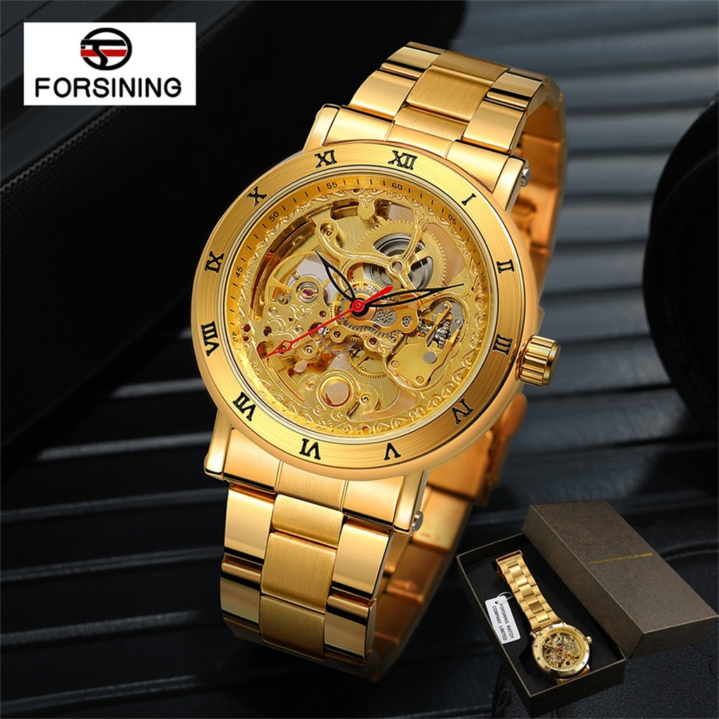 Watches Men Waterproof Steel Watch Double Bottom Hollow Men's Automatic Mechanical Watch  reloj hombre