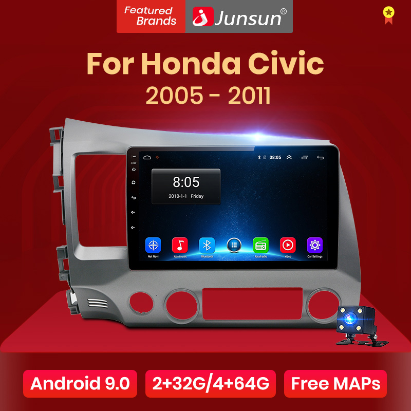 Junsun V1 2G + 32G אנדרואיד 9.0 DSP רכב רדיו מולטימדיה נגן וידאו עבור הונדה סיוויק 8 2005-2011 ניווט GPS לא 2din 2 דין dvd