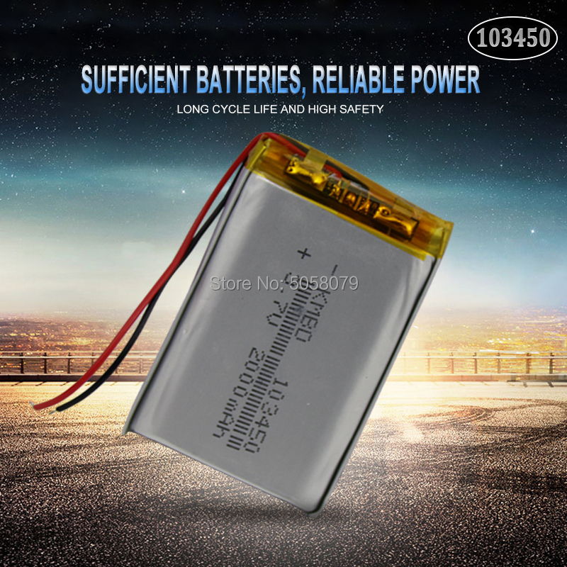 1pcs 103450 <font><b>3.7V</b></font> <font><b>2000mah</b></font> <font><b>lipo</b></font> polymer lithium rechargeable <font><b>battery</b></font> for MP3 GPS navigator DVD recorder headset e-book camera image
