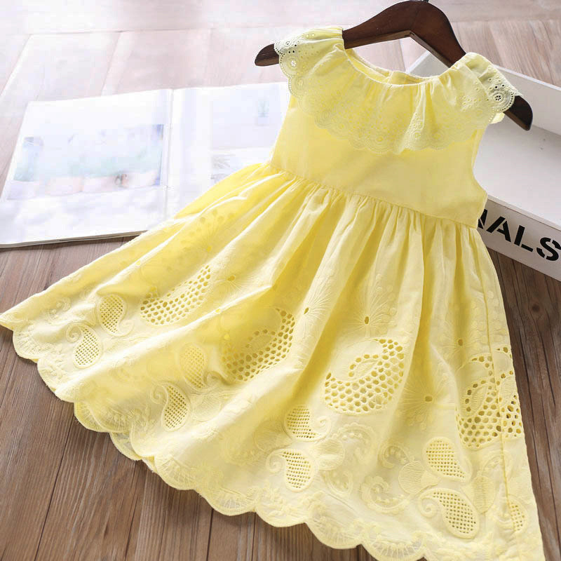 2020 New Girls' Dresses Children'S Summer Cotton Embroidered Hollow Dress Baby Kids Clothing Cute Ruffled Round Neck Vest Dress