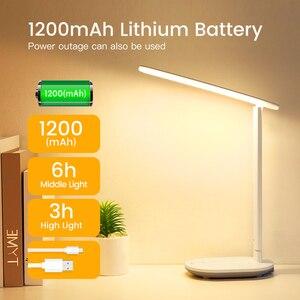Image 3 - Kademesiz kısılabilir masa okuma lambası katlanabilir dönebilen dokunmatik anahtarı LED masa lambası USB şarj aleti şarj edilebilir pil gece lambası