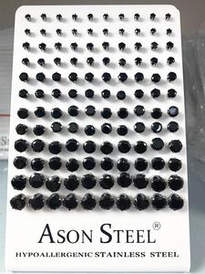 Image 5 - ASONSTEEL 60pairs/Lot Wholesale Clear Stud Earrings Round Stainless Steel Hypoallergenic Earring,Size 3 8mm(Each Size 10pairs)