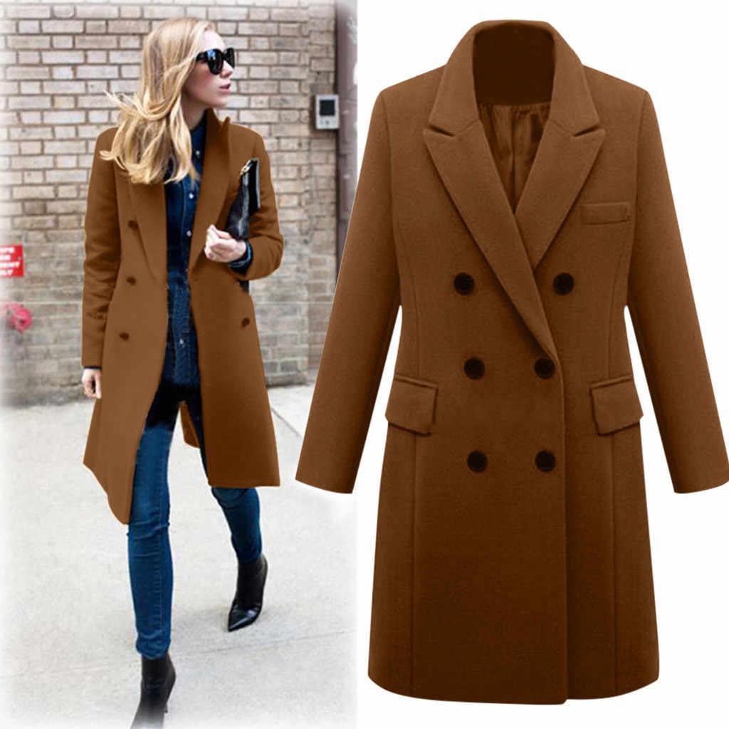 Uitloper Jas Overjas Herfst Hot Koop Womens Winter Revers Wollen Jas Geul Jas Lange Parka Mode Eenvoud Zachte Elegante Top