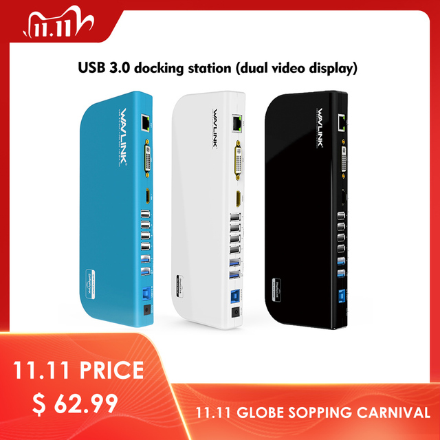 Wavlink Universal USB 3.0 Docking Station Dual Video Display Monitor RJ45 Gigabit Ethernet Support 1080P DVI/HDMI Working Online