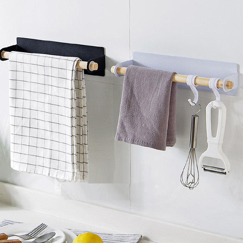 Bathroom Wood Towel Bar Kitchen Cabinet Cling Film Rag Hanging Holder Organizer Toilet Roll Paper Holder Wall Hanging Holder